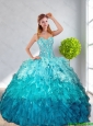 2016 Spring Pretty Multi Color Quinceanera Gown with Ruffles and Beading
