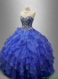 2016 New arrival Classical Beaded Blue Quinceanera Gowns with Ruffles