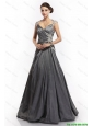Latest A Line Straps Appliques Prom Dresses with Brush Train