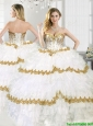 Gorgeous Beaded and Ruffled Layers Sweet 16 Dress in White