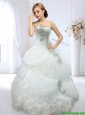 Latest Strapless Beaded and Bubble Wedding Dress in Organza