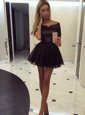 Luxurious Black Off The Shoulder Neckline Ruching Prom Dresses Short Sleeves Zipper