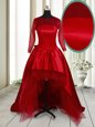Vintage Scoop Long Sleeves High Low Clasp Handle Wine Red and In for Prom with Bowknot