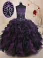 Super Black And Purple Lace Up Vestidos de Quinceanera Beading and Ruffles Sleeveless Floor Length