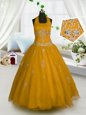 Wonderful Halter Top Sleeveless Little Girls Pageant Dress Wholesale Floor Length Appliques Orange Tulle